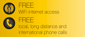 FREE WiFi internet access - FREE local, long distance & international phone calls